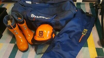 £45 • Buy Husqvarna Kit - Chainsaw Boots Size 10, Chainsaw Trousers, Helmet And Large Bag