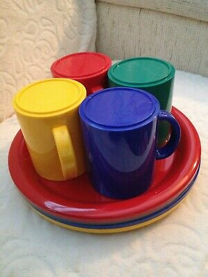 £16.50 • Buy Set Of 4 PLASTIC PICNIC CUPS/MUGS PLATES CAMPING HOLIDAYS Four Primary Colours