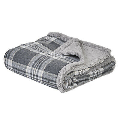 £9.99 • Buy Me & My Pets Grey Check Dog/Puppy Blanket Bed Soft Cosy Warm Throw 120 X 100cm