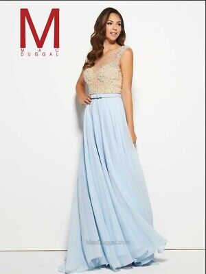 $99.99 • Buy Mac Duggal Beaded Gown 20046 M  Ice Blue (size 6)