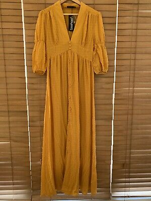 £5.50 • Buy Boohoo Woven Button Front Maxi Dress Mustard Size 10 BNWT RRP £26
