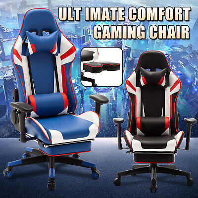 AU169.90 • Buy Computer Gaming Chair Racer 4D Armrest 180° Executive Office Recliner W/Footrest