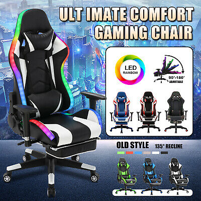 AU159.90 • Buy Executive Office Computer Gaming Chair PU 180° Racer Chair Recliner W/Footrest
