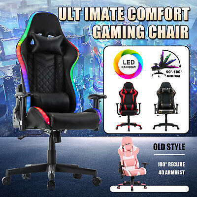 AU159.90 • Buy Gaming Chair Executive Office Computer PULeather Recliner Racer Seat W/Headrest