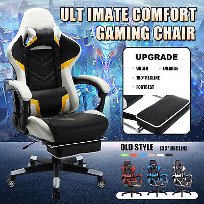 AU139.90 • Buy Computer Gaming Chair PU Leather Executive Office Recliner Racer Footrest Seat