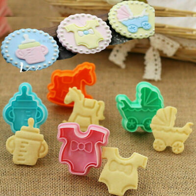£3.99 • Buy Mould 4pcs Cookies Plunger Cutter Cute Baking Cake Biscuit Mold Fondant Baby