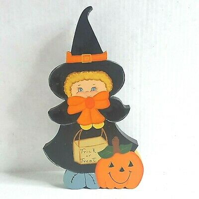 $ CDN6.23 • Buy Vintage Halloween Folk Art Wooden Cut Out Girl In Witch Costume Trick Or Treat