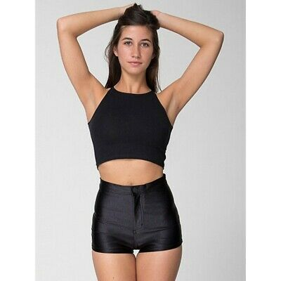 £21.73 • Buy American Apparel Size Small Shiny Disco Shorts Hot Pants Black Mint Condition
