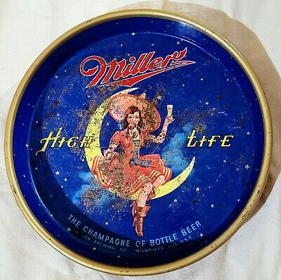 """$14.99 • Buy VTG Miller High Life Girl On The Moon Beer Tray True Age Rust 13"""" Wall Hanging"""