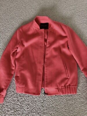 AU30 • Buy Massimo Dutti Women's Wool Bomber Jacket In Coral Sz XS