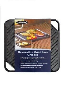 £29.99 • Buy Cast Iron Griddle Tray Reversible Plate Large Square Grill Pan Tray BBQ