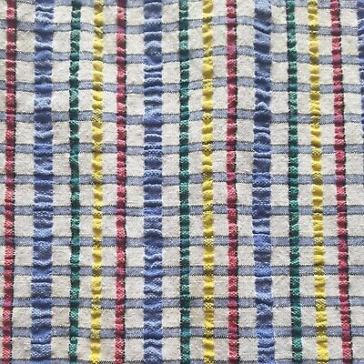 £5.75 • Buy Vintage 50s Seersucker Colourful Checked Retro Tablecloth Fabric Material Kitsch