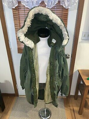 $199.99 • Buy US Army M-1965 M51 Extreme Cold Weather PARKA Coat + LINER + HOOD Medium 37-41