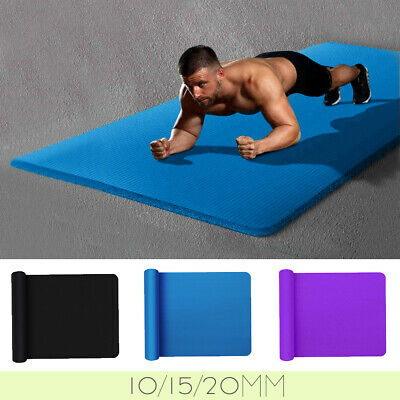 AU28.99 • Buy NBR Yoga Mat Durable 10/15/20mm Thick Pad Nonslip Exercise Fitness Pilate Gym