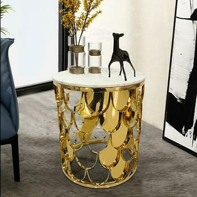 AU425 • Buy Halston Marble Side Table White Marble Gold Frame