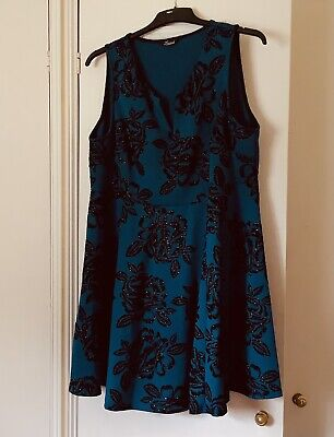 £5 • Buy Limited Collection By Yours Skater Short Dress, Peacock Blue Glitter Size 22