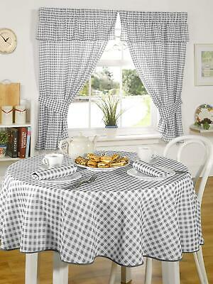£13.99 • Buy Molly Kitchen Curtains Tablecloth Napkins Dining Range Charcoal Gingham Check