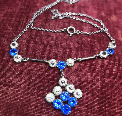 £33.50 • Buy Antique Jewellery Gorgeous Bezel Set Sapphire And Clear Paste Crystal Necklace