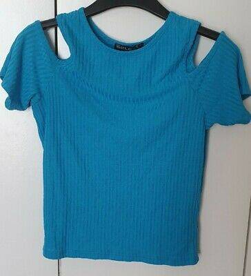 £0.99 • Buy Blue Cut Out Sleeve Top Select Size 10