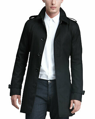 $729 • Buy NEW Burberry Brit Mens Black Classic Trench Raincoat Size XL With Tags