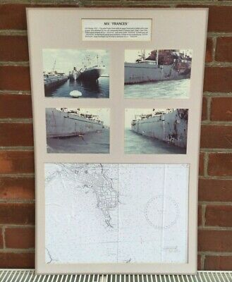 £4 • Buy M.V Frances CARGO Ship Gutted By Fire 1982 Photos & Surveyors Marine Map Signed.