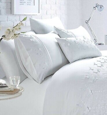 £22.99 • Buy Luxury White Butterfly Embellished Duvet Quilt Cover Bed Set OR Filled Cushion