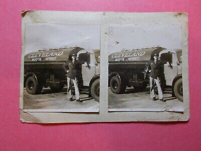 £2.99 • Buy Grubby Cleveland Motor Spirit Small Stereo Photograph 1930s Petrol Oil Lorry