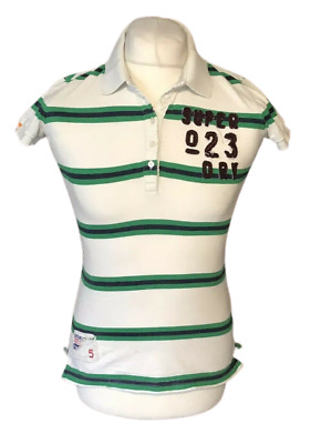 £15.99 • Buy Superdry Boys Polo T Shirt Green White Striped Large Short Sleeve