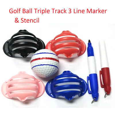 £3.99 • Buy Golf Ball Triple Track 3 Line Marker Stencil With 2 Pen Putting Positioning Aids