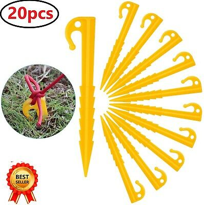 £5.99 • Buy 20pcs Plastic Tent Pegs Nail Sand Ground Garden Stakes Outdoors Camping Tools UK