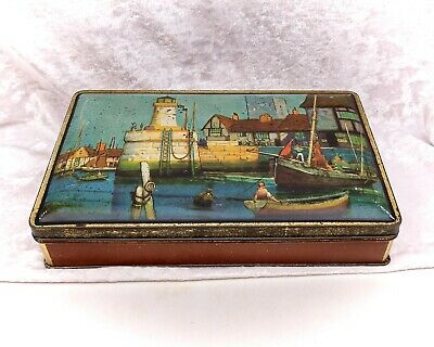 £29.99 • Buy Nautical Harbour Scene With Lighthouse-Vintage Biscuit Tin-WR Jacob & Co