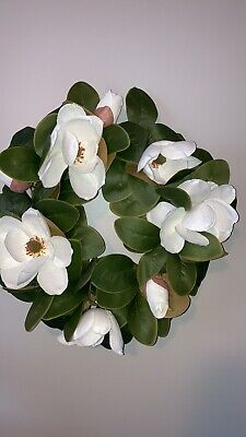 """$75 • Buy NWT Pier 1 Southern Magnolia Leaves Blossom 24"""" Indoor Outdoor Wreath Brand New"""