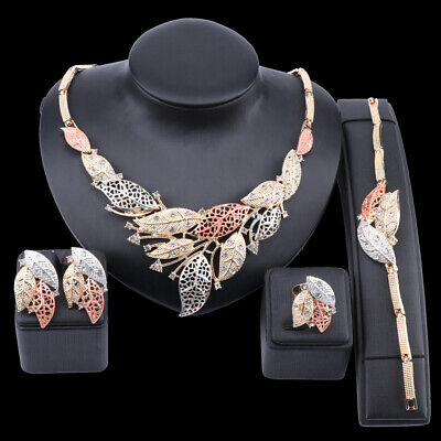£3.94 • Buy Women Wedding Bridal Party Statement Leaves Crystal Necklace Ring Jewellery Set