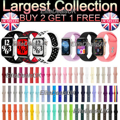 £3.25 • Buy For Apple Watch Strap Band IWatch Series 6 SE 5 4 3 38/40/42/44mm SILICONE Sport