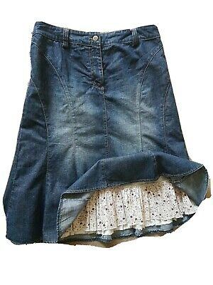 £11 • Buy Denim Skirt Size 12 Blue Flared With Frilled Petticoat