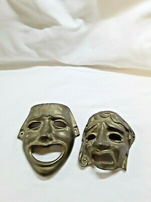 £18 • Buy Vintage Brass Drama Masks - Comedy & Tragedy, Wall Hangings
