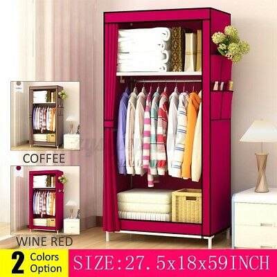 £16.99 • Buy Canvas Wardrobe Storage Large Fabric Portable Dust Proof Cover With Hanging Rail
