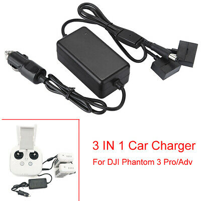 AU41.38 • Buy 3 IN 1 Car Charger Battery Charging Adapter For DJI Phantom 3 Pro/Adv SE Drones