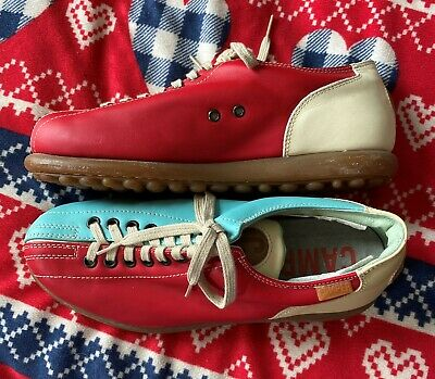 £69.99 • Buy CAMPER TWINS Pelotas Cream Red Teal Comfort Leather Casual Shoes EU38 Size 5