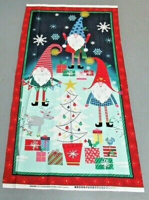 $3.77 • Buy Michael Miller Quilt-craft Fabric HOLIDAY GNOMES PANEL Navy 2/3 Yd (cx-8872)