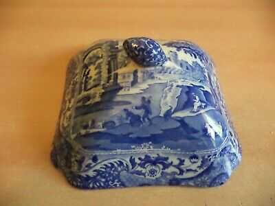 £29.99 • Buy SPODE ITALIAN Blue White OLD ANTIQUE POTTERY Square DOME TUREEN Serving Dish Lid