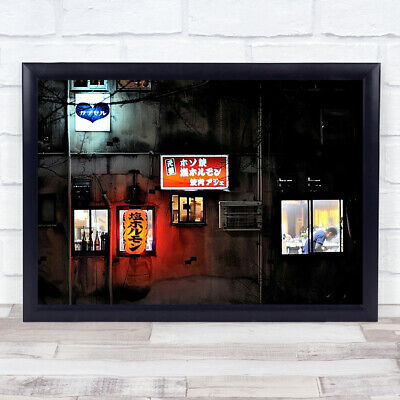 £27.99 • Buy The Red Lamp Night Lights Signs Signboards Window Building Pipes Lines Art Print