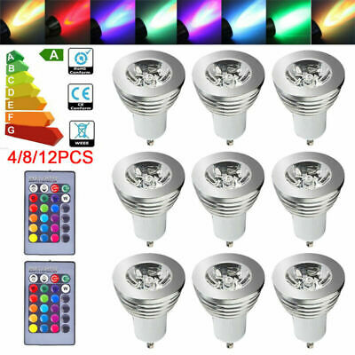 £13.79 • Buy 4-12X GU10 4W 16 Color Changing RGB Dimmable LED Light Bulbs Lamp RC Remote Spot