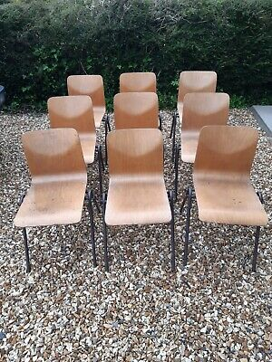 £25 • Buy Plywood School Chairs Vtg Mid Century Steelux Industrial Stacking Seats Cafe Bar