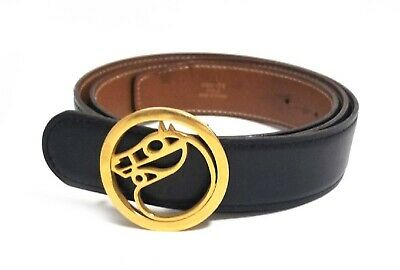 £500.67 • Buy Authentic Hermes Gold Plated Buckle Men's Belt Black Size 90 Pre-owned(J)