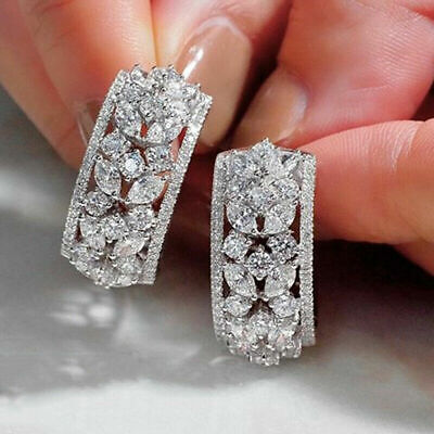 AU4.27 • Buy 925 Silver Hoop Earrings For Women Gorgeous Cubic Zirconia Engagement Jewelry