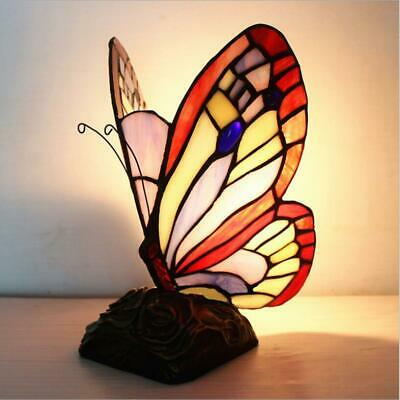 £55.28 • Buy Tiffany Style Table Lamp Admiral Butterfly Design Glass Shade Home Decor