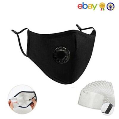 £1.99 • Buy Reusable Face Mask Washable Cotton Fabric With Respirator Valve & PM2.5 Filters
