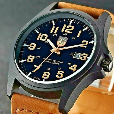 £4.99 • Buy Mens Womens Military Leather Date Quartz Analog Army Casual Dress Wrist Watches