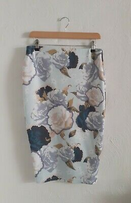 £9.99 • Buy 💕River Island Size 12 Ribbed Floral Summer Pencil Skirt~ Excellent Condition💕